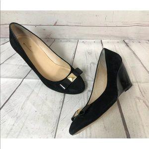Kate Spade Black Suede Wedge Heels Shoes 9.5